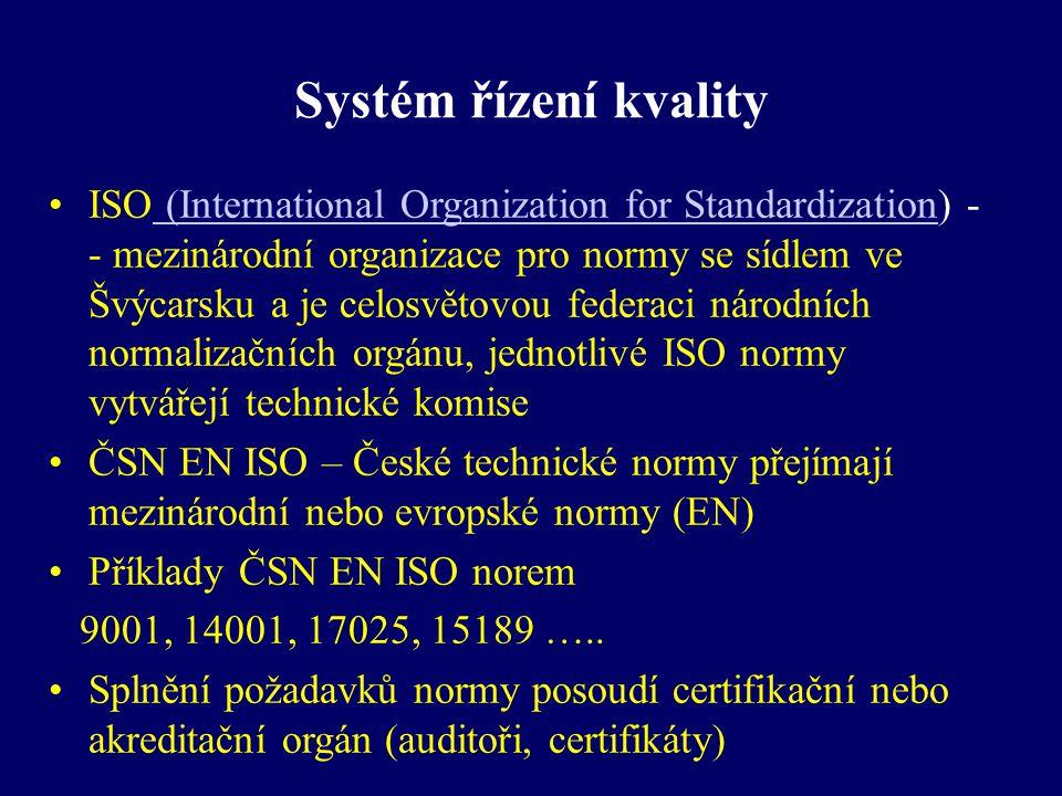Systém řízení kvality Norma EN ISO 9001:2000 (nyní již 9001:2008) Stanovuje požadavky na systém managmentu (řízení) kvality (SŘK) Uznáním, že systém managmentu kvality je ve shodě s požadavky této normy je certifikát Toto uznání dává certifikační orgán, který provede certifikační audit Certifikační orgán musí také splňovat požadavky předepsané normy a musí být akreditovaný národní institucí