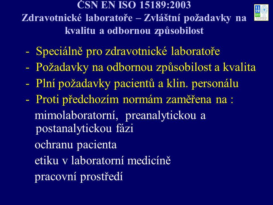 ČSN EN ISO 15189:2003 Zdravotnické laboratoře – Zvláštní požadavky na kvalitu a odbornou způsobilost -Speciálně pro zdravotnické laboratoře -Požadavky