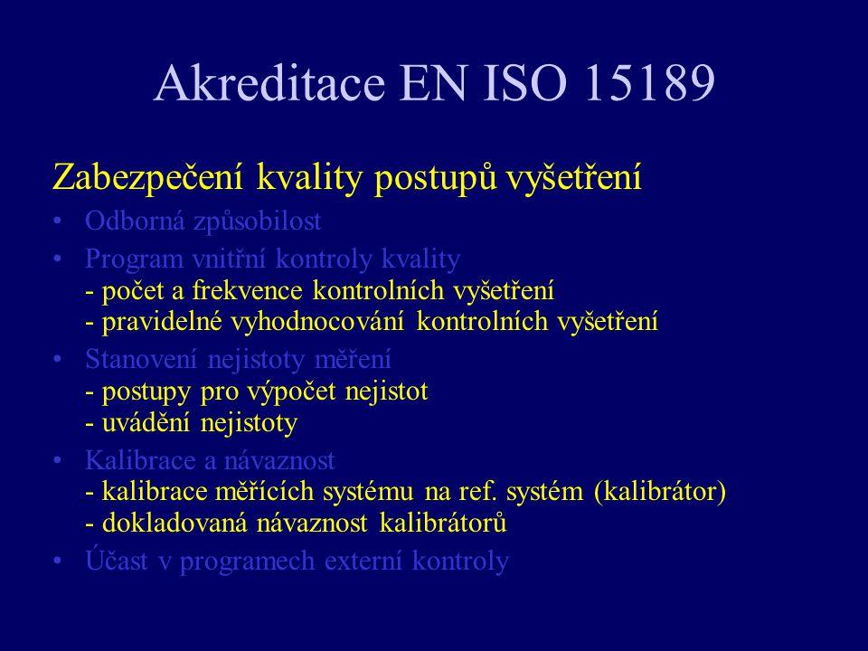 Akreditace EN ISO 15189 Zabezpečení kvality postupů vyšetření Odborná způsobilost Program vnitřní kontroly kvality - počet a frekvence kontrolních vyš