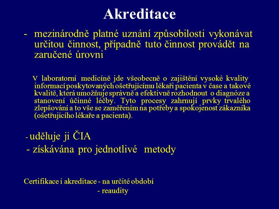 Akreditace -mezinárodně platné uznání způsobilosti vykonávat určitou činnost, případně tuto činnost provádět na zaručené úrovni V laboratorní medicíně