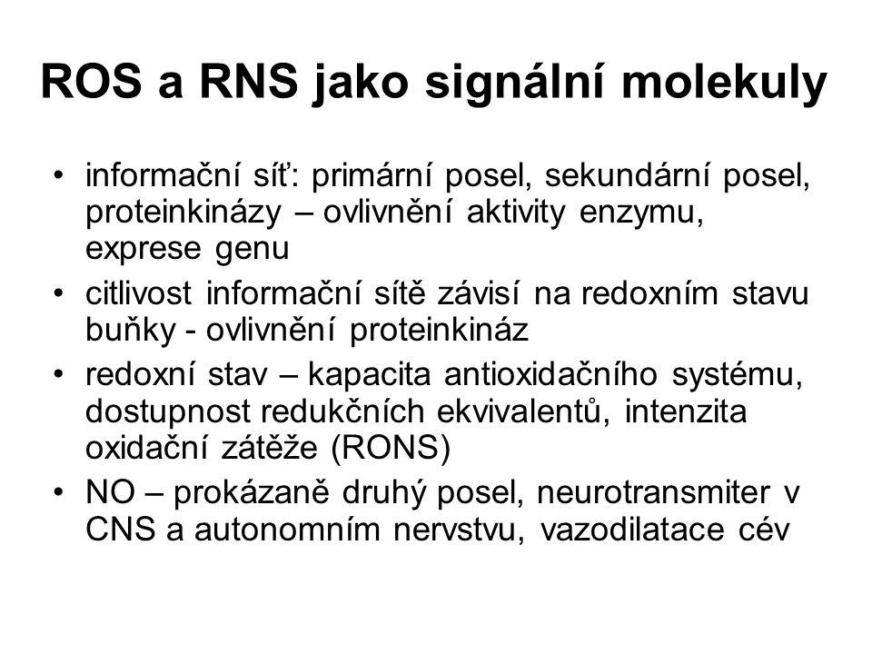 ROS a RNS jako signální molekuly informační síť: primární posel, sekundární posel, proteinkinázy – ovlivnění aktivity enzymu, exprese genu citlivost i