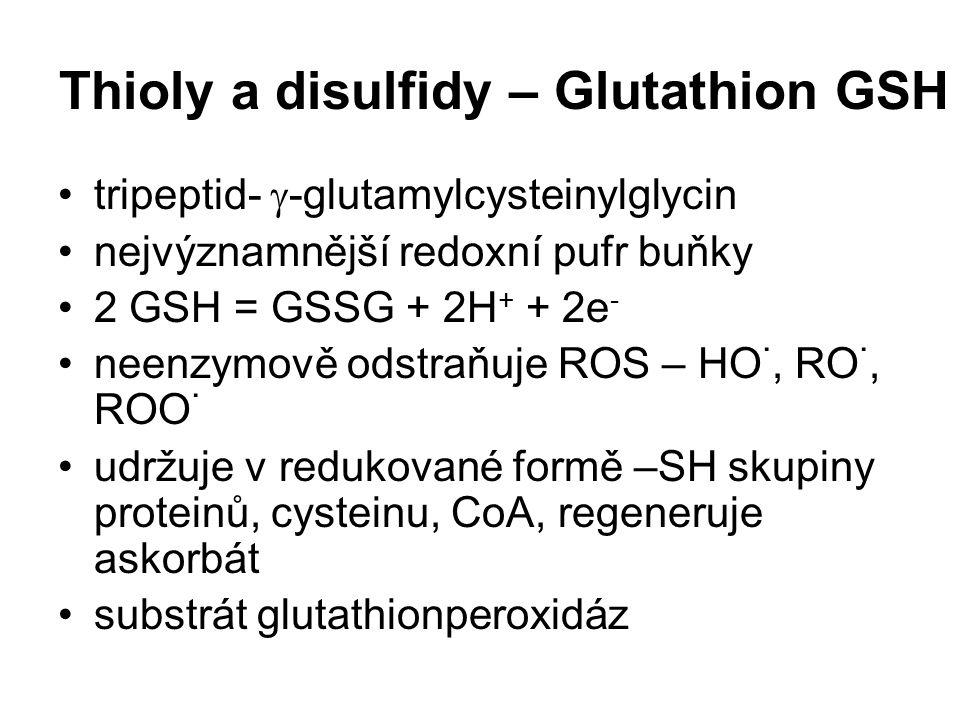 Thioly a disulfidy – Glutathion GSH tripeptid-  -glutamylcysteinylglycin nejvýznamnější redoxní pufr buňky 2 GSH = GSSG + 2H + + 2e - neenzymově odst