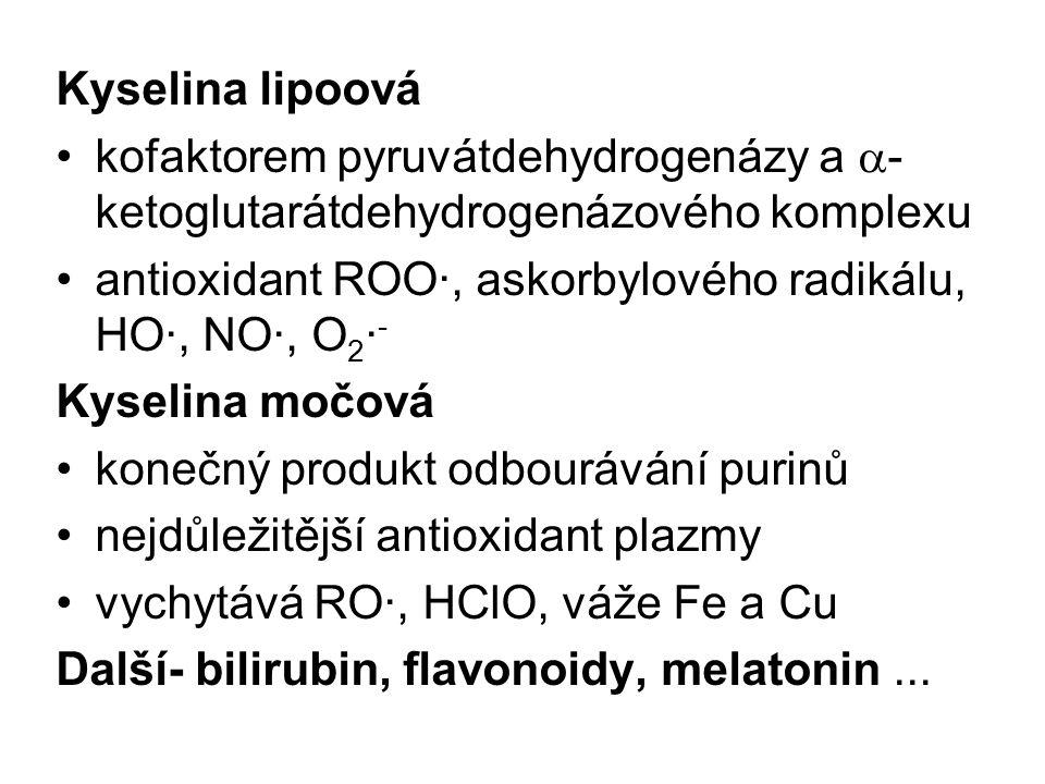 Kyselina lipoová kofaktorem pyruvátdehydrogenázy a  - ketoglutarátdehydrogenázového komplexu antioxidant ROO·, askorbylového radikálu, HO·, NO·, O 2