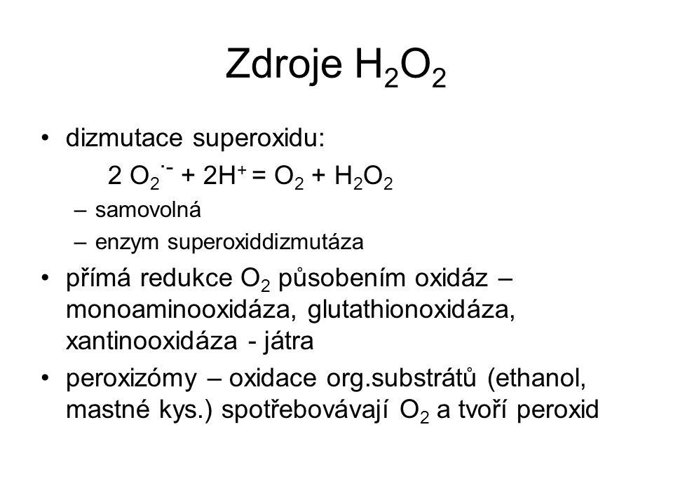 Zdroje H 2 O 2 dizmutace superoxidu: 2 O 2 ·- + 2H + = O 2 + H 2 O 2 –samovolná –enzym superoxiddizmutáza přímá redukce O 2 působením oxidáz – monoami
