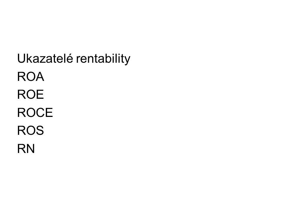 Ukazatelé rentability ROA ROE ROCE ROS RN