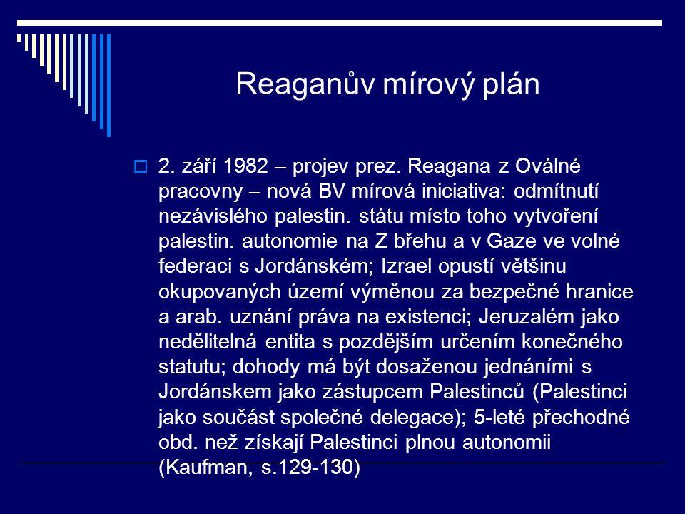Reaganův mírový plán  2. září 1982 – projev prez.