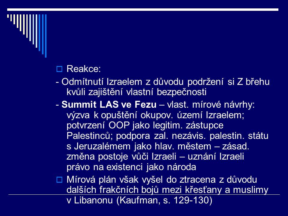  Reakce: - Odmítnutí Izraelem z důvodu podržení si Z břehu kvůli zajištění vlastní bezpečnosti - Summit LAS ve Fezu – vlast.