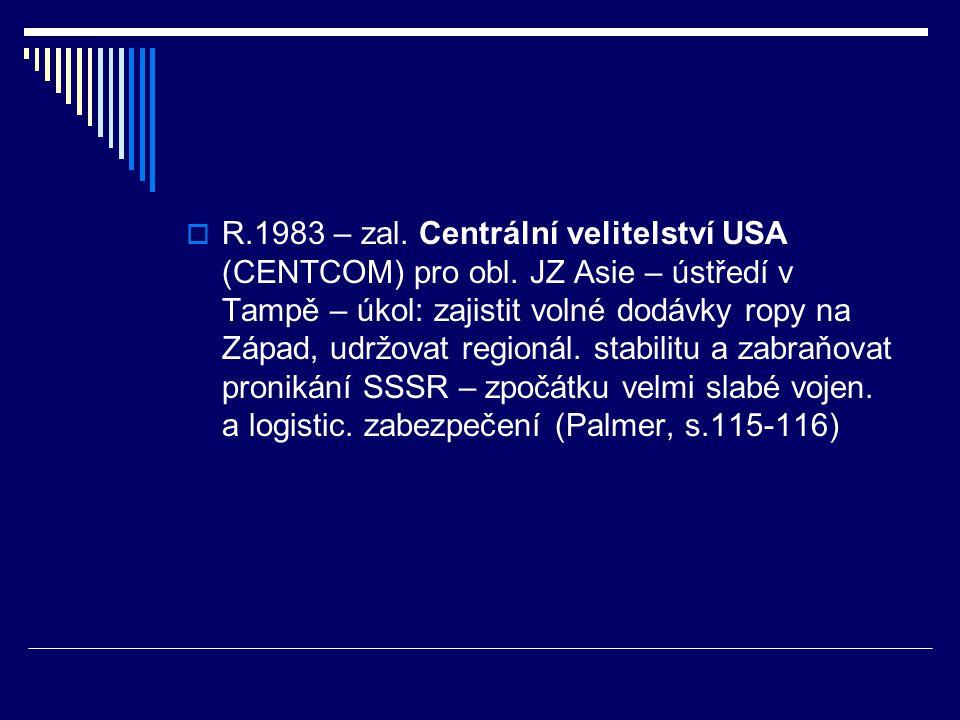  R.1983 – zal. Centrální velitelství USA (CENTCOM) pro obl.