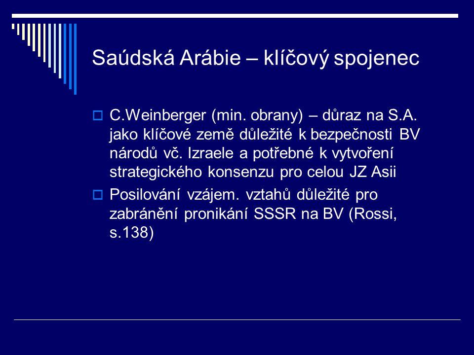 Saúdská Arábie – klíčový spojenec  C.Weinberger (min.
