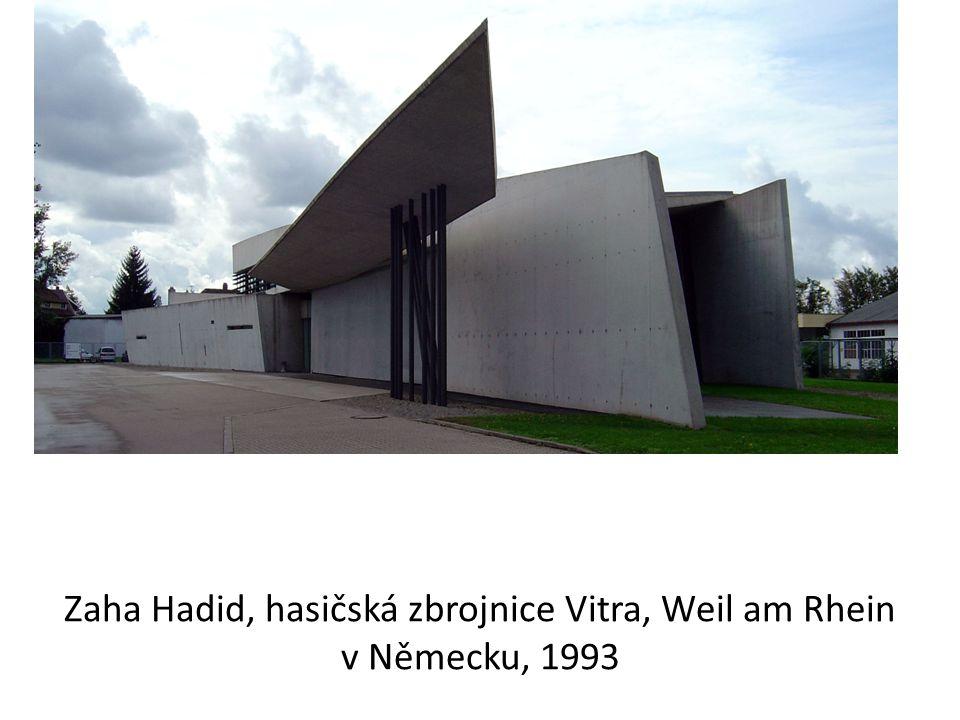 Zaha Hadid, hasičská zbrojnice Vitra, Weil am Rhein v Německu, 1993
