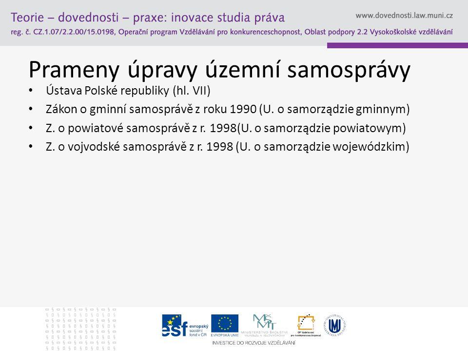 Prameny úpravy územní samosprávy Ústava Polské republiky (hl.