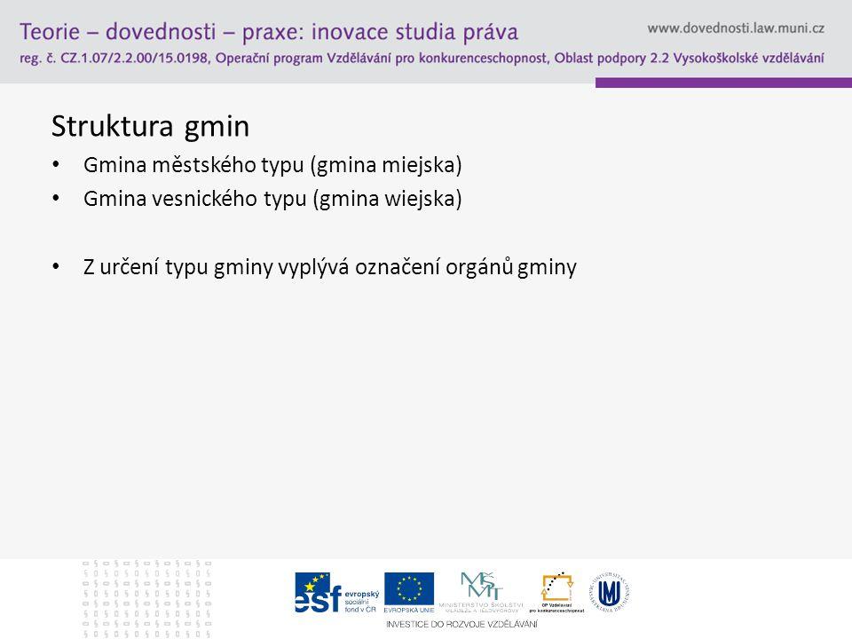 Struktura gmin Gmina městského typu (gmina miejska) Gmina vesnického typu (gmina wiejska) Z určení typu gminy vyplývá označení orgánů gminy