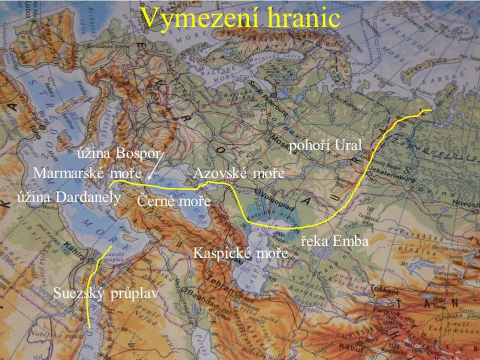 pohoří Ural řeka Emba Azovské moře Kaspické moře Černé moře úžina Bospor Marmarské moře úžina Dardanely Suezský průplav Vymezení hranic