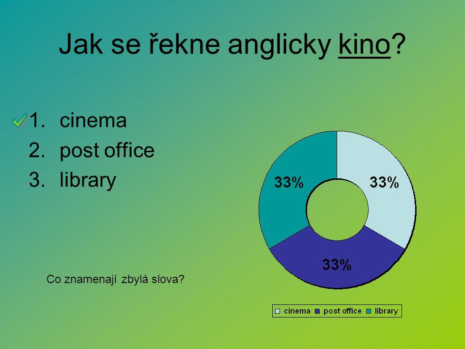 Jak se řekne anglicky kino? 1.cinema 2.post office 3.library Co znamenají zbylá slova?