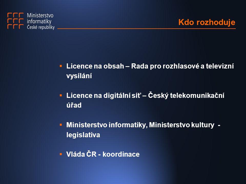 Kdo rozhoduje  Licence na obsah – Rada pro rozhlasové a televizní vysílání  Licence na digitální síť – Český telekomunikační úřad  Ministerstvo informatiky, Ministerstvo kultury - legislativa  Vláda ČR - koordinace
