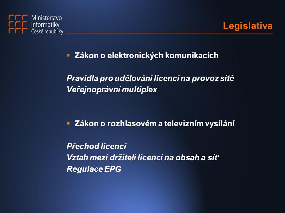 Legislativa  Zákon o elektronických komunikacích Pravidla pro udělování licencí na provoz sítě Veřejnoprávní multiplex  Zákon o rozhlasovém a televizním vysílání Přechod licencí Vztah mezi držiteli licencí na obsah a síť Regulace EPG