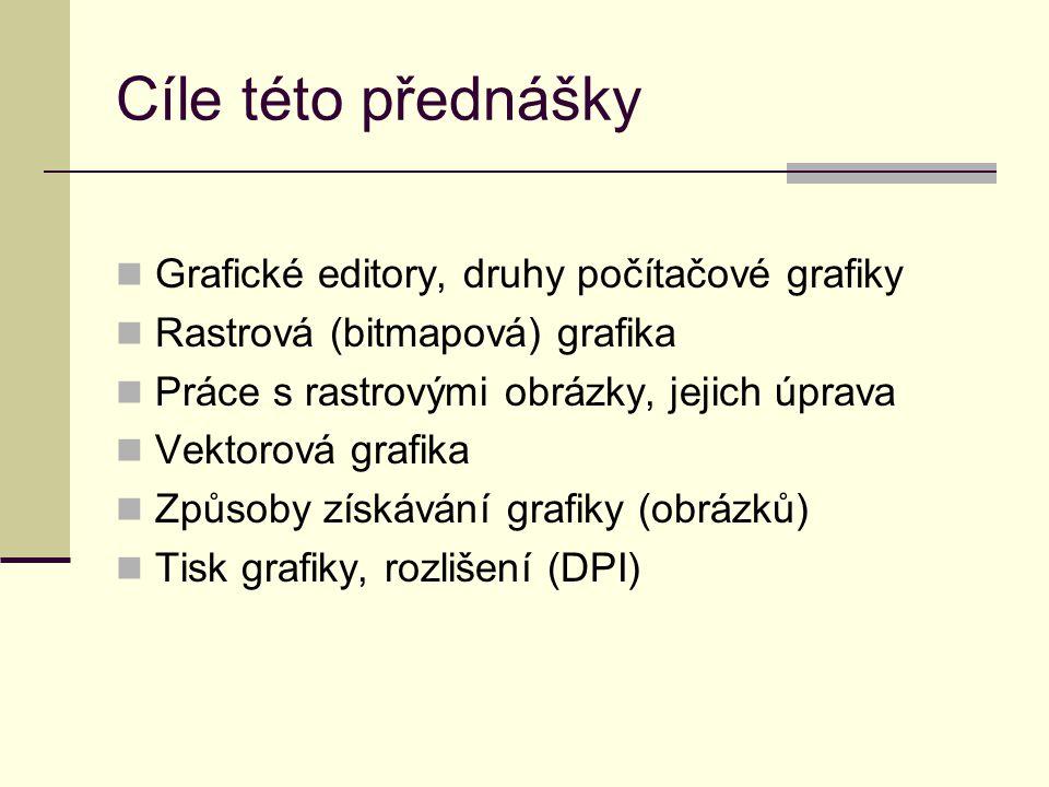 Cíle této přednášky Grafické editory, druhy počítačové grafiky Rastrová (bitmapová) grafika Práce s rastrovými obrázky, jejich úprava Vektorová grafik