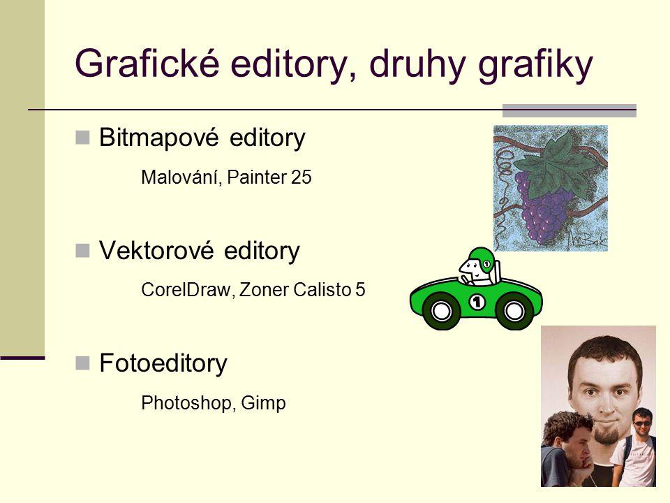 Bitmapové editory Malování, Painter 25 Vektorové editory CorelDraw, Zoner Calisto 5 Fotoeditory Photoshop, Gimp Grafické editory, druhy grafiky