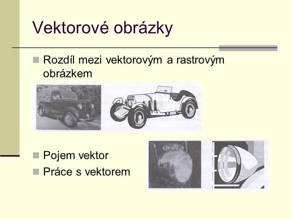 Vektorové obrázky Rozdíl mezi vektorovým a rastrovým obrázkem Pojem vektor Práce s vektorem