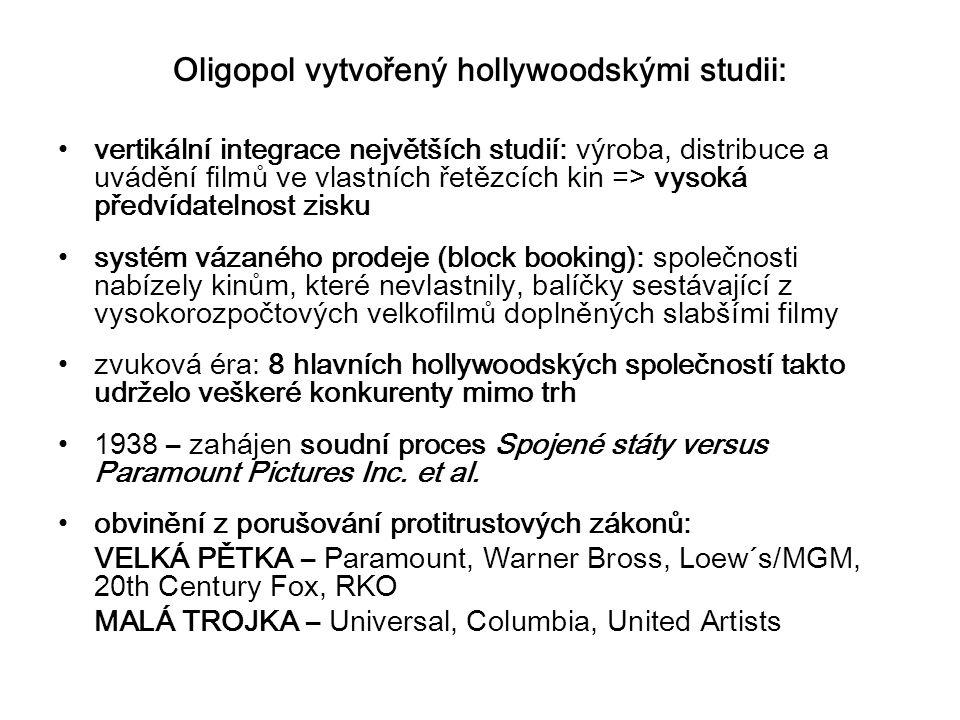 Oligopol vytvořený hollywoodskými studii: vertikální integrace největších studií: výroba, distribuce a uvádění filmů ve vlastních řetězcích kin => vysoká předvídatelnost zisku systém vázaného prodeje (block booking): společnosti nabízely kinům, které nevlastnily, balíčky sestávající z vysokorozpočtových velkofilmů doplněných slabšími filmy zvuková éra: 8 hlavních hollywoodských společností takto udrželo veškeré konkurenty mimo trh 1938 – zahájen soudní proces Spojené státy versus Paramount Pictures Inc.