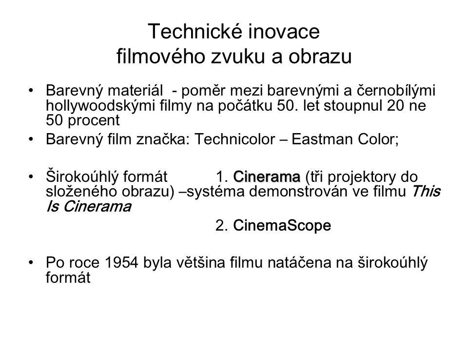 Technické inovace filmového zvuku a obrazu Barevný materiál - poměr mezi barevnými a černobílými hollywoodskými filmy na počátku 50. let stoupnul 20 n