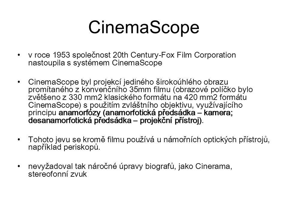CinemaScope v roce 1953 společnost 20th Century-Fox Film Corporation nastoupila s systémem CinemaScope anamorfózy (anamorfotická předsádka – kamera; desanamorfotická předsádka – projekční přístroj)CinemaScope byl projekcí jediného širokoúhlého obrazu promítaného z konvenčního 35mm filmu (obrazové políčko bylo zvětšeno z 330 mm2 klasického formátu na 420 mm2 formátu CinemaScope) s použitím zvláštního objektivu, využívajícího principu anamorfózy (anamorfotická předsádka – kamera; desanamorfotická předsádka – projekční přístroj).