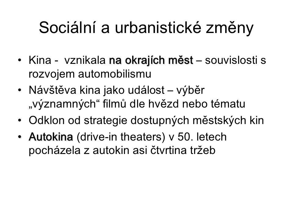 """Sociální a urbanistické změny na okrajích městKina - vznikala na okrajích měst – souvislosti s rozvojem automobilismu Návštěva kina jako událost – výběr """"významných filmů dle hvězd nebo tématu Odklon od strategie dostupných městských kin AutokinaAutokina (drive-in theaters) v 50."""