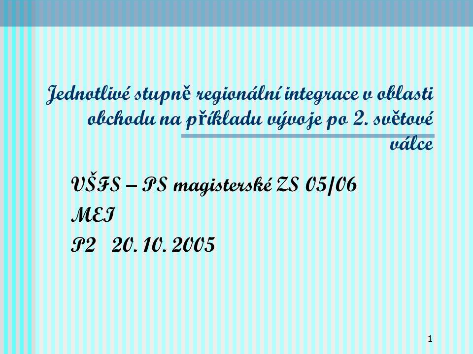 1 Jednotlivé stupn ě regionální integrace v oblasti obchodu na p ř íkladu vývoje po 2.