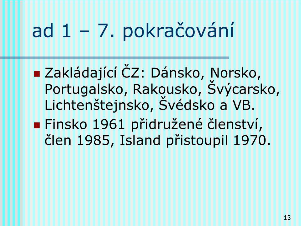 13 ad 1 – 7. pokračování Zakládající ČZ: Dánsko, Norsko, Portugalsko, Rakousko, Švýcarsko, Lichtenštejnsko, Švédsko a VB. Finsko 1961 přidružené člens