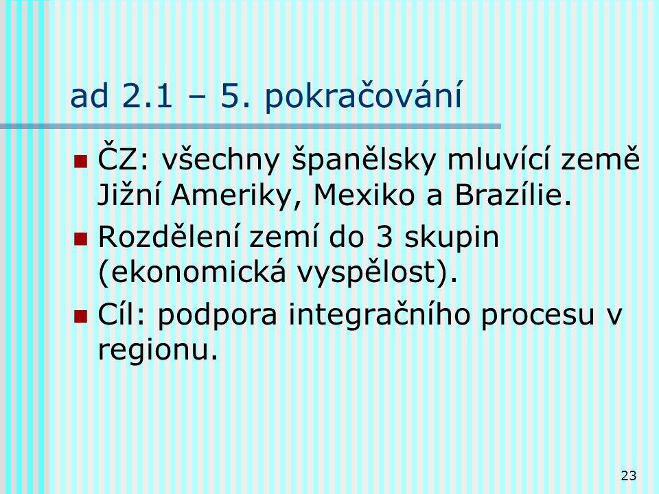 23 ad 2.1 – 5. pokračování ČZ: všechny španělsky mluvící země Jižní Ameriky, Mexiko a Brazílie.