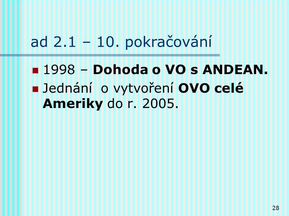 28 ad 2.1 – 10.pokračování 1998 – Dohoda o VO s ANDEAN.
