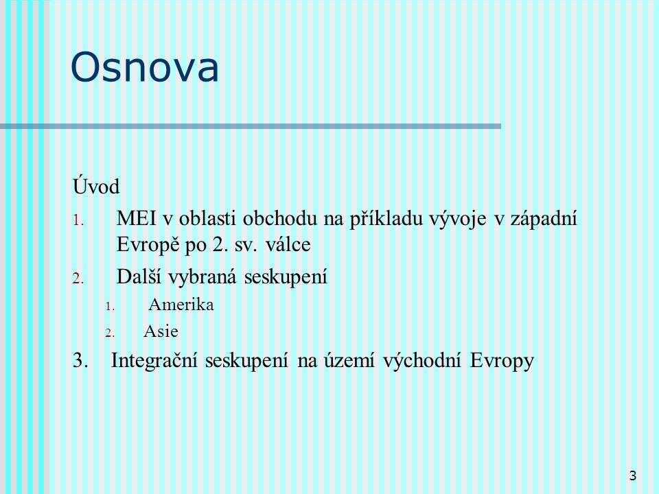 3 Osnova Úvod 1. MEI v oblasti obchodu na příkladu vývoje v západní Evropě po 2.