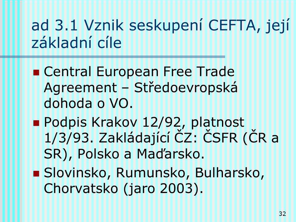 32 ad 3.1 Vznik seskupení CEFTA, její základní cíle Central European Free Trade Agreement – Středoevropská dohoda o VO.