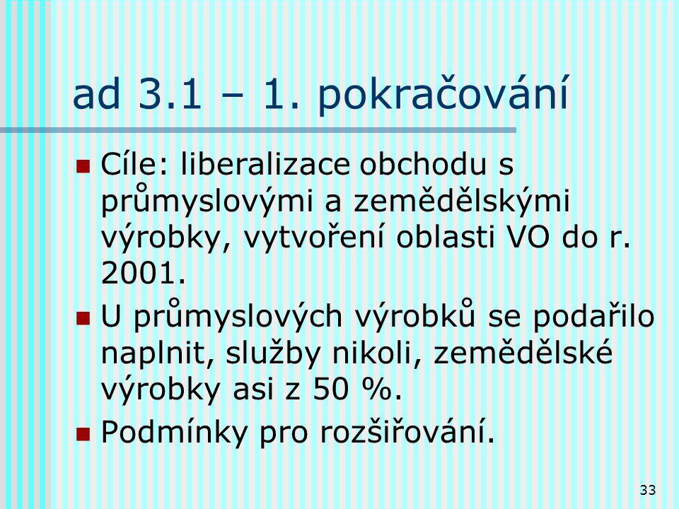 33 ad 3.1 – 1. pokračování Cíle: liberalizace obchodu s průmyslovými a zemědělskými výrobky, vytvoření oblasti VO do r. 2001. U průmyslových výrobků s