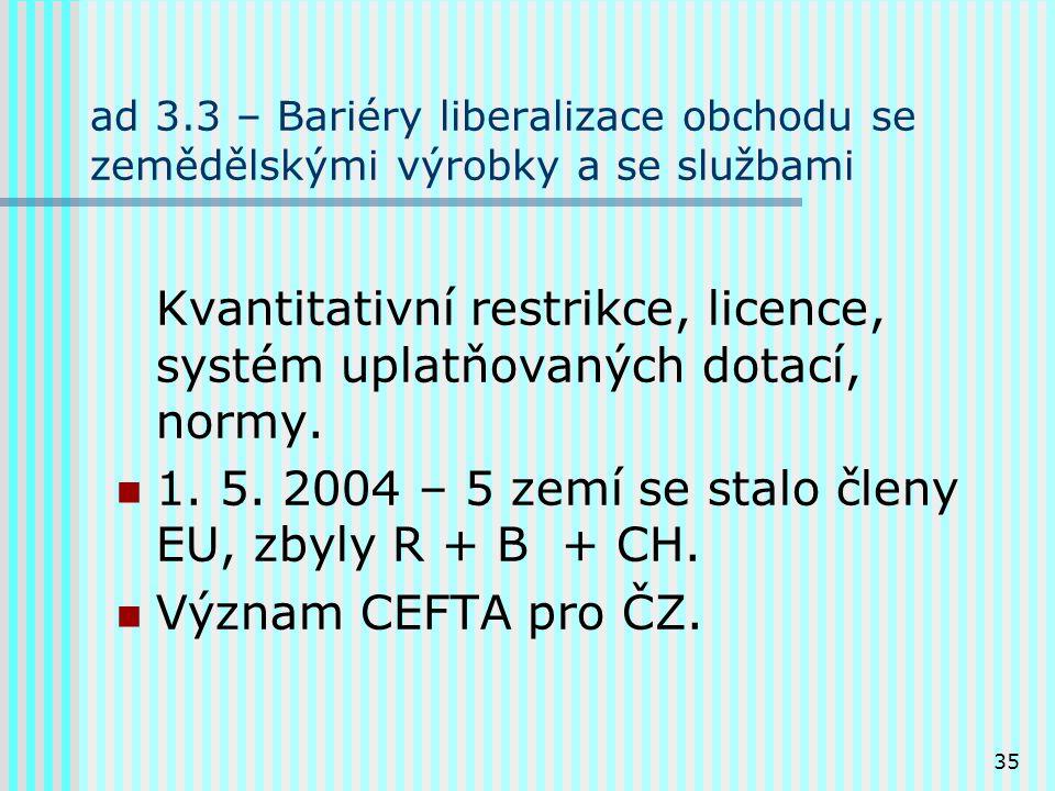 35 ad 3.3 – Bariéry liberalizace obchodu se zemědělskými výrobky a se službami Kvantitativní restrikce, licence, systém uplatňovaných dotací, normy.