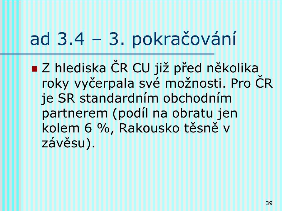 39 ad 3.4 – 3.pokračování Z hlediska ČR CU již před několika roky vyčerpala své možnosti.
