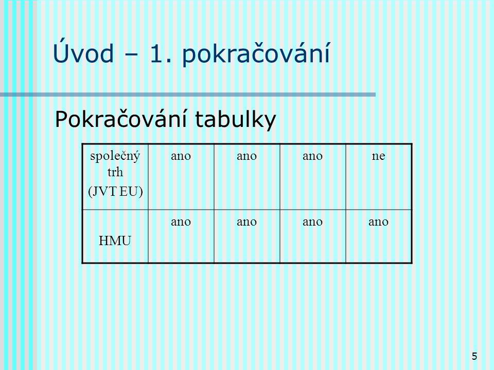 5 Úvod – 1. pokračování Pokračování tabulky společný trh (JVT EU) ano ne HMU ano