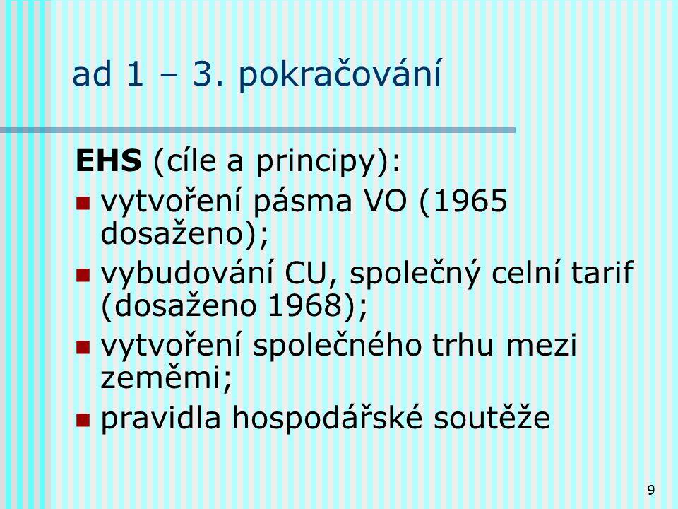 9 ad 1 – 3. pokračování EHS (cíle a principy): vytvoření pásma VO (1965 dosaženo); vybudování CU, společný celní tarif (dosaženo 1968); vytvoření spol
