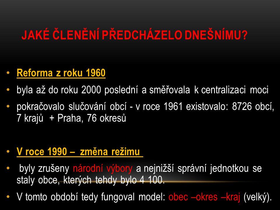 ČESKÉ OKRESY 1960 ÚKOL: URČI KRAJE NA MAPĚ.