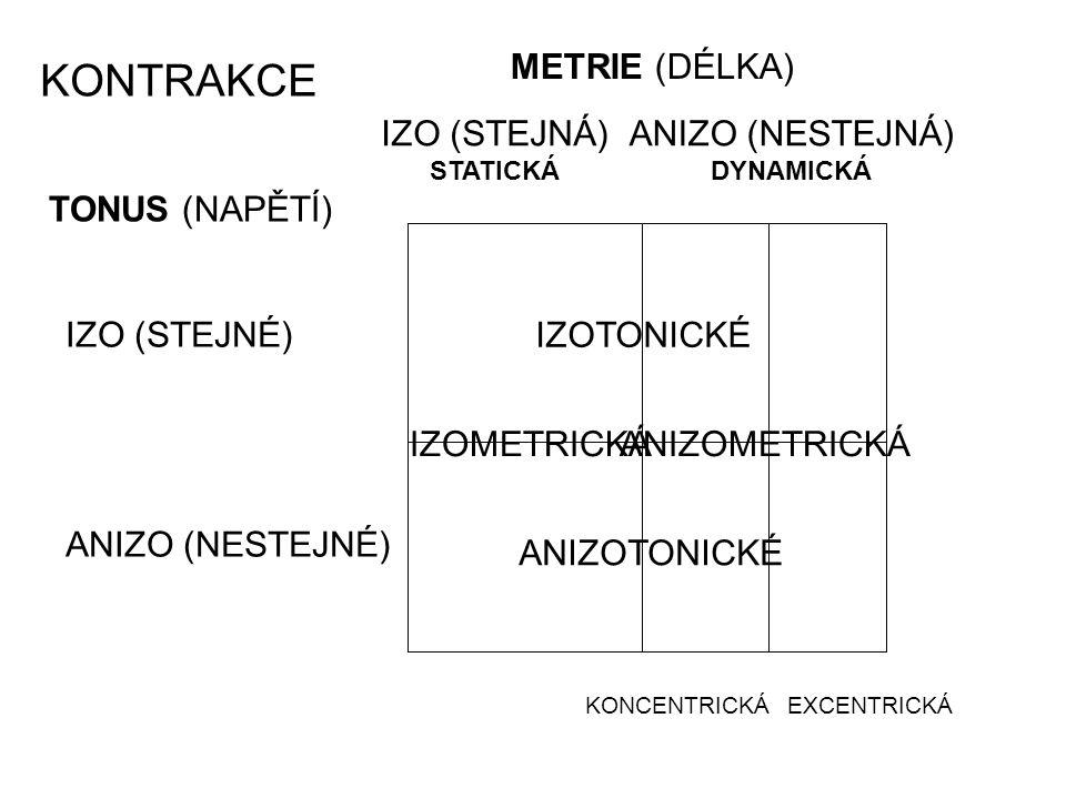 TONUS (NAPĚTÍ) METRIE (DÉLKA) IZO (STEJNÉ) ANIZO (NESTEJNÉ) ANIZO (NESTEJNÁ) DYNAMICKÁ IZO (STEJNÁ) STATICKÁ KONCENTRICKÁEXCENTRICKÁ IZOTONICKÉ ANIZOT