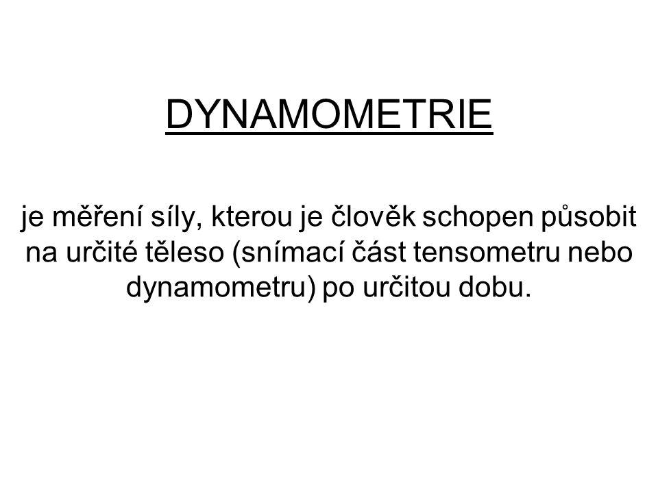 DYNAMOMETRIE je měření síly, kterou je člověk schopen působit na určité těleso (snímací část tensometru nebo dynamometru) po určitou dobu.