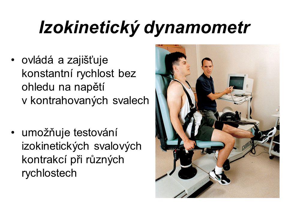 Izokinetický dynamometr ovládá a zajišťuje konstantní rychlost bez ohledu na napětí v kontrahovaných svalech umožňuje testování izokinetických svalový