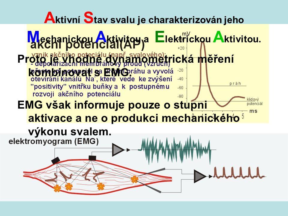 A ktivní S tav svalu je charakterizován jeho M echanickou A ktivitou a E lektrickou A ktivitou. Proto je vhodné dynamometrická měření kombinovat s EMG