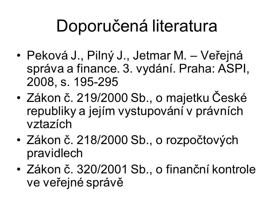 Doporučená literatura Peková J., Pilný J., Jetmar M. – Veřejná správa a finance. 3. vydání. Praha: ASPI, 2008, s. 195-295 Zákon č. 219/2000 Sb., o maj