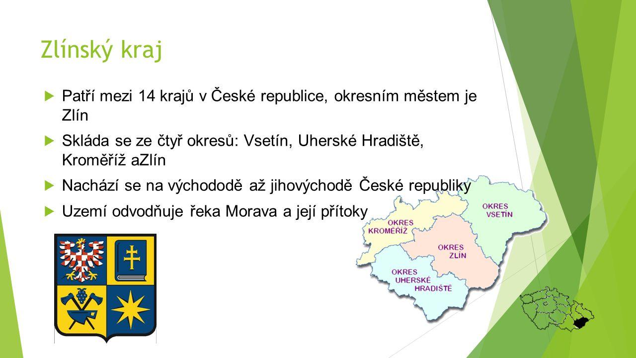 Zlínský kraj  Patří mezi 14 krajů v České republice, okresním městem je Zlín  Skláda se ze čtyř okresů: Vsetín, Uherské Hradiště, Kroměříž aZlín  N