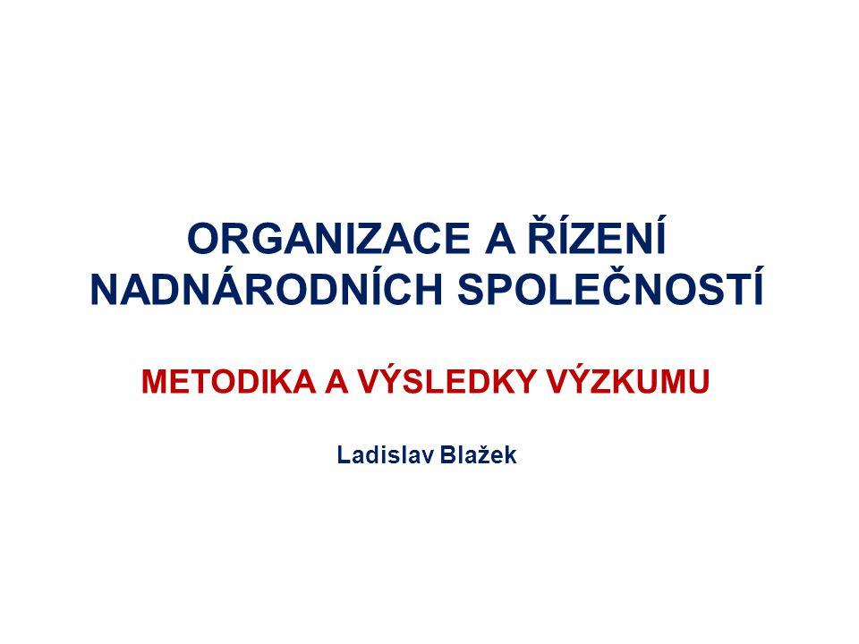 ORGANIZACE A ŘÍZENÍ NADNÁRODNÍCH SPOLEČNOSTÍ METODIKA A VÝSLEDKY VÝZKUMU Ladislav Blažek