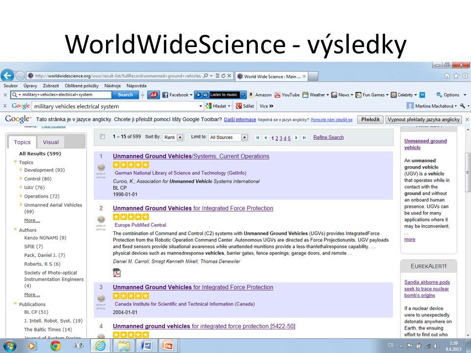 WorldWideScience - výsledky
