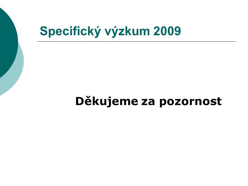 Specifický výzkum 2009 Děkujeme za pozornost