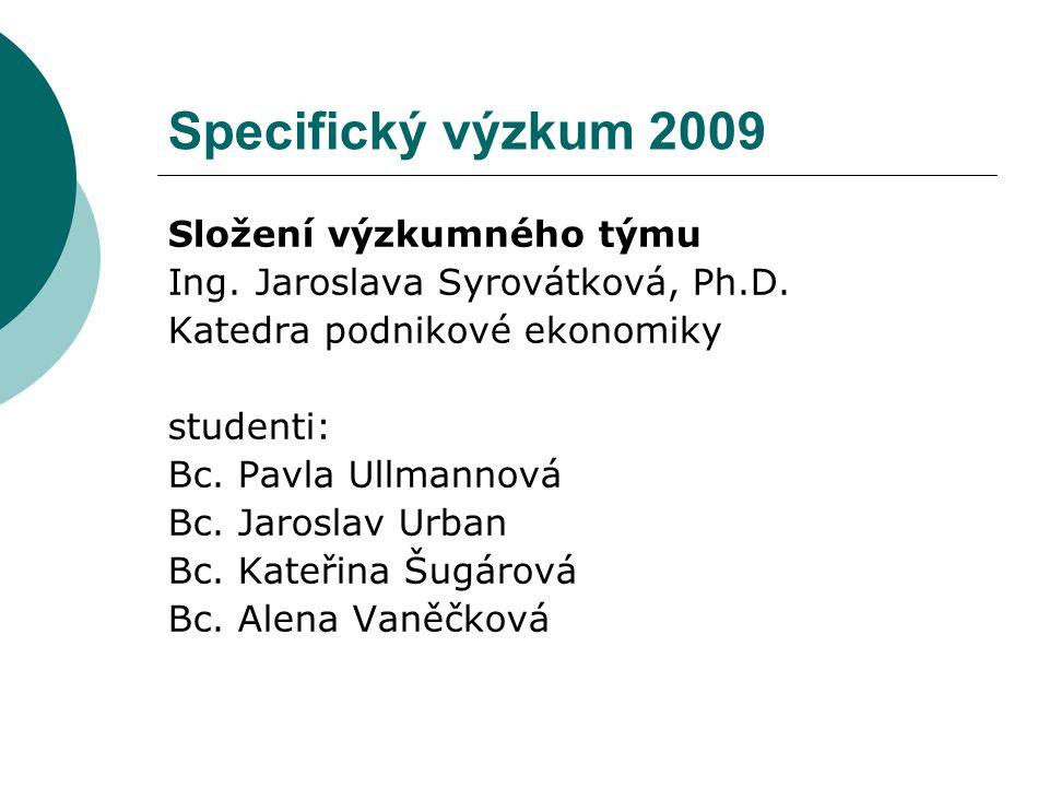 Specifický výzkum 2009 Složení výzkumného týmu Ing. Jaroslava Syrovátková, Ph.D. Katedra podnikové ekonomiky studenti: Bc. Pavla Ullmannová Bc. Jarosl
