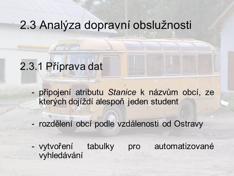 2.3 Analýza dopravní obslužnosti 2.3.1 Příprava dat -připojení atributu Stanice k názvům obcí, ze kterých dojíždí alespoň jeden student -rozdělení obcí podle vzdálenosti od Ostravy -vytvoření tabulky pro automatizované vyhledávání